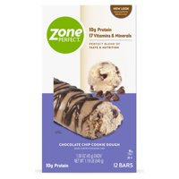 ZonePerfect Protein Bars, Chocolate Chip Cookie Dough, 10g of Protein, Nutrition Bars With Vitamins & Minerals, Great Taste Guaranteed, 12 Bars