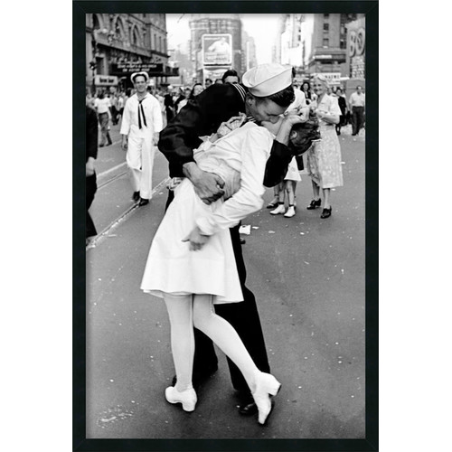 Kissing on VJ Day - Times Square Framed Wall Art by Alfred Eisenstaedt - 25.41W x 37.41H in.