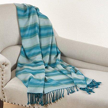 (Fennco Styles Woven Design Bamboo Blanket Throw - 50