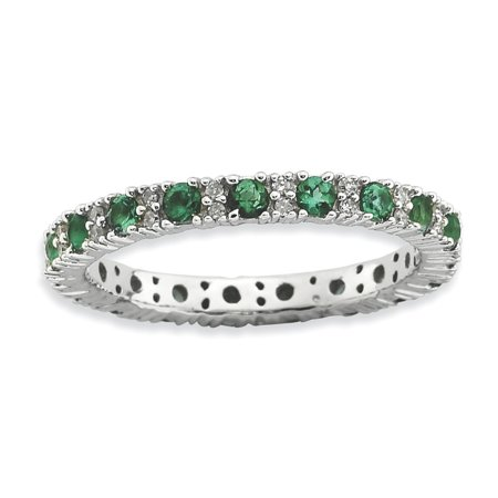 Roy Rose Jewelry Sterling Silver Stackable Expressions Created Emerald & Diamond Ring Size -