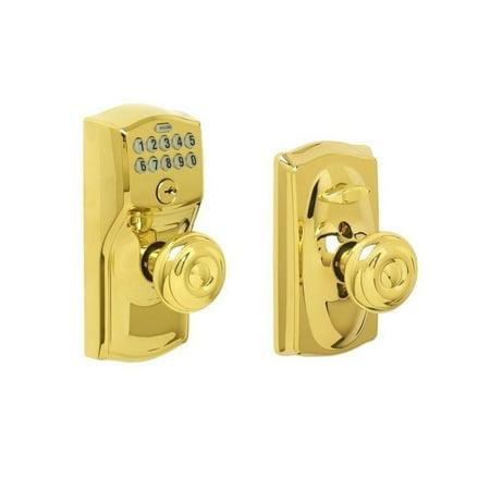 Camelot Bright Brass Keypad Entry with Flex Lock with Georgian Interior Knob