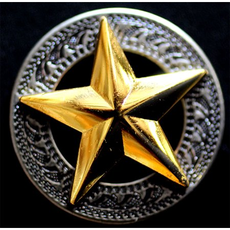 Lot of 4 Texas Star Conchos Concho Horse Saddle Western Tack Bridle Golden (Star Bridle)