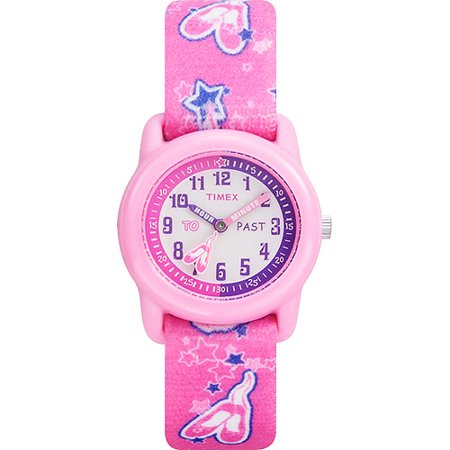Timex kids pink analog watch ballerina elastic fabric strap for Watches for kids