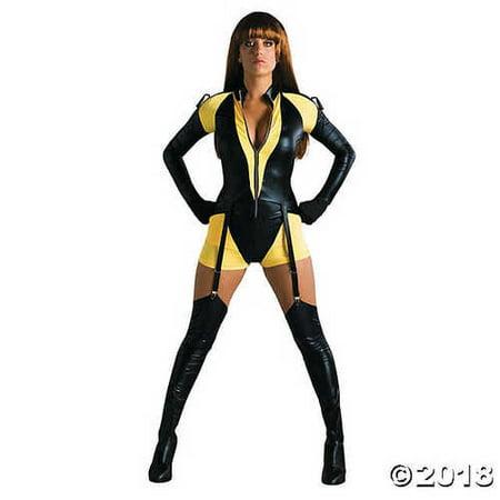 Watchmen Silk Spectre Costume (Ultimate Halloween Costume UHC Women's Watchmen Silk Spectre Sexy Romper Yellow Dress Halloween Costume, S)