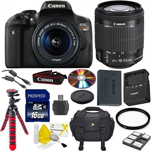 Canon EOS Rebel T6i Digital SLR 33rd Street Camera Bundle with EF-S 18-55mm IS STM Lens + Flexible Spider Tripod + Commander U.V. Filter + Commander 16GB High Speed Memory + Memory Card Reader + Delux