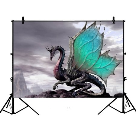 GCKG 7x5ft Ancient Dragon Pattern Polyester Photography Backdrop Studio Photo Props Background