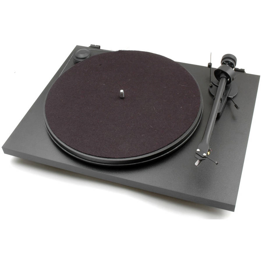 MONOPRICE Pro-Ject Essential II Matte Black USB Turntable with Ortofon OM 5E Cartridge by Generic