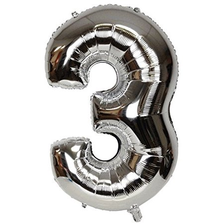 Just Artifacts Shiny Silver (30-inch) Decorative Floating Foil Mylar Balloons - Number: 3 - Letter and Number Balloons for any Name or Number Combination! (Letter Mylar Balloons)