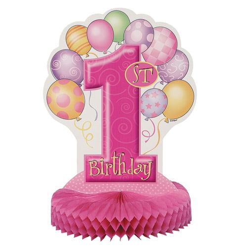 """14"""" Pink First Birthday Centerpiece Decoration"""