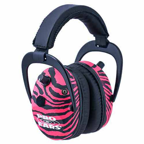 Pro Ears Electronic Hearing Protection Predator Gold, NRR 26, Pink Zebra