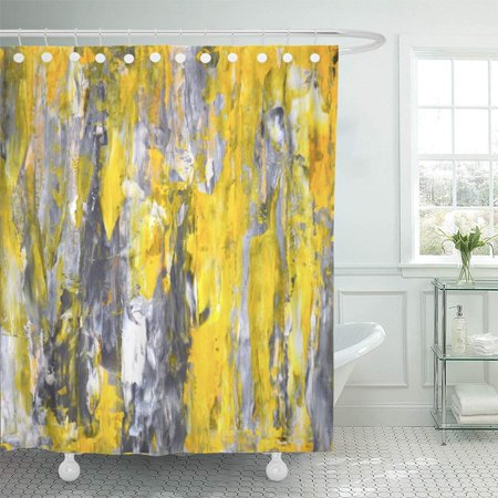 PKNMT White Modern Grey and Yellow Abstract Painting Knife Palette Vertical Acrylic Bathroom Shower Curtain 66x72 (Acrylic Shower)