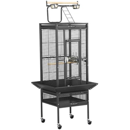Iron Birdcage - Yaheetech Wrought Iron Select Pet Bird Cage Play Top Parrot Cockatiel Cockatoo Parakeet Finches-Black