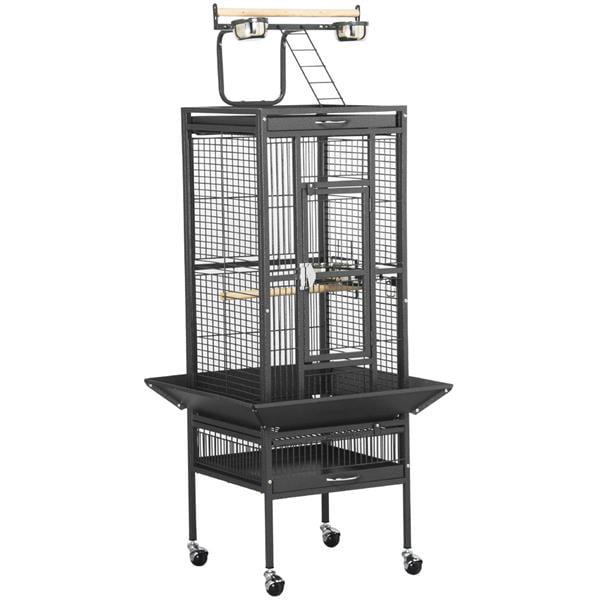 Yaheetech Wrought Iron Select Pet Bird Cage Play Top Parrot Cockatiel Cockatoo Parakeet Finches-Black