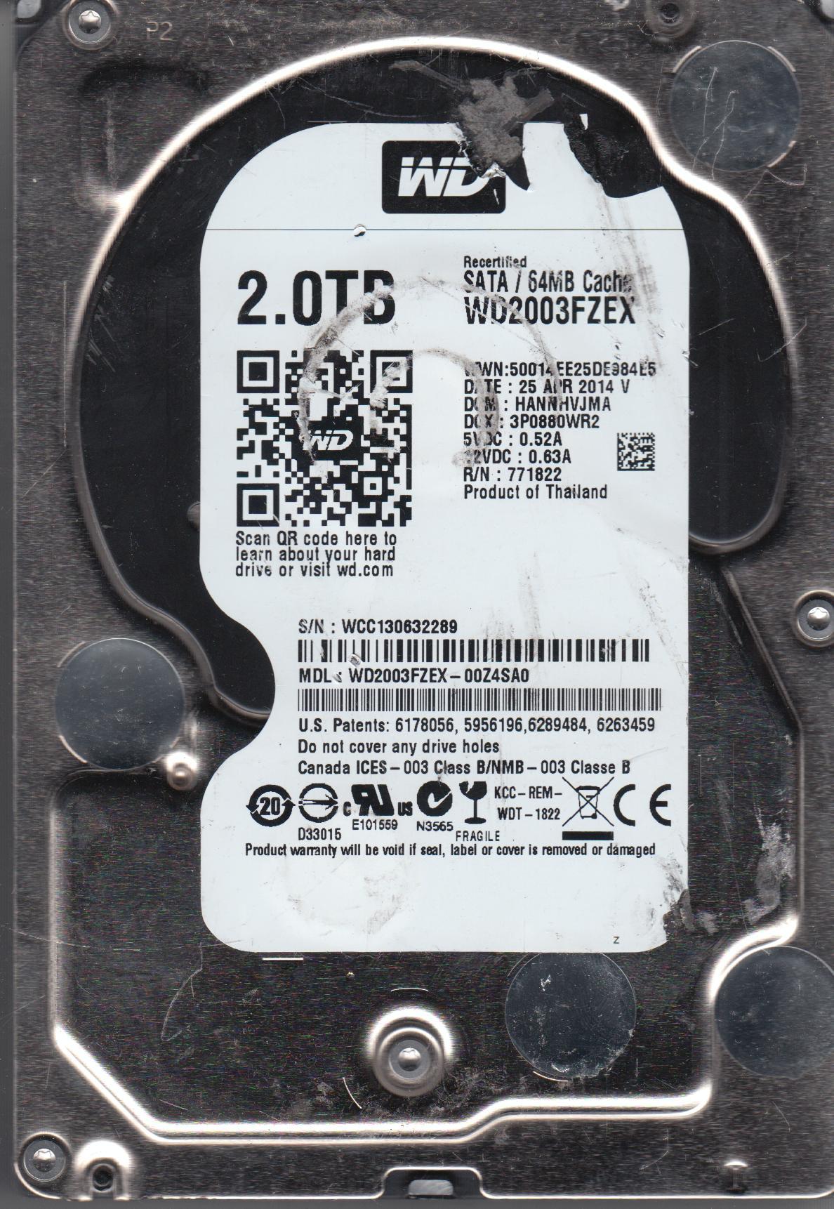 WD2003FZEX-00Z4SA0, DCM HANNHVJMA, Western Digital 2TB SATA 3.5 Hard Drive by WD