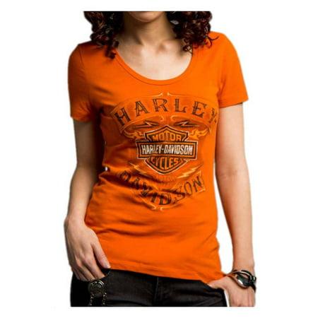 Harley-Davidson Women's Never Be Neglected Short Sleeve Tee, Orange 5E34-HC9V, Harley Davidson (Harley Davidson Halloween Run)