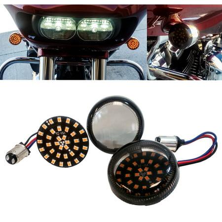 Black Out OZ-USA Amber LED Turn Signal Running Light Insert Harley Bullet 1157 Bulb FL FX XL Smoke Lens touring dyna softail sportster street road electra glide