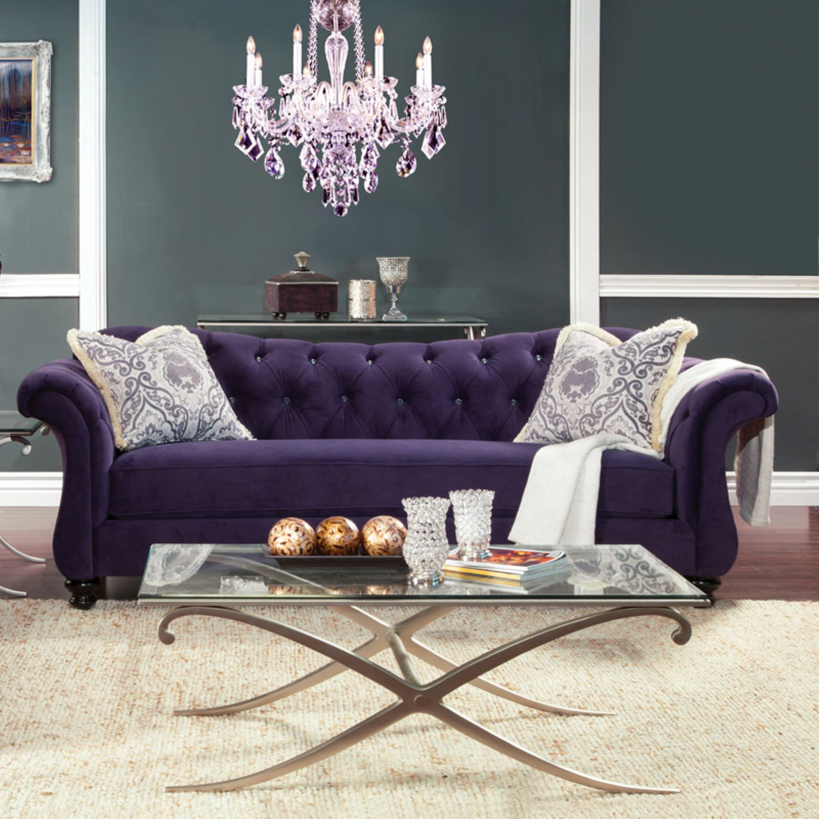 Furniture of America Wellington Premium Fabric Sofa - Purple