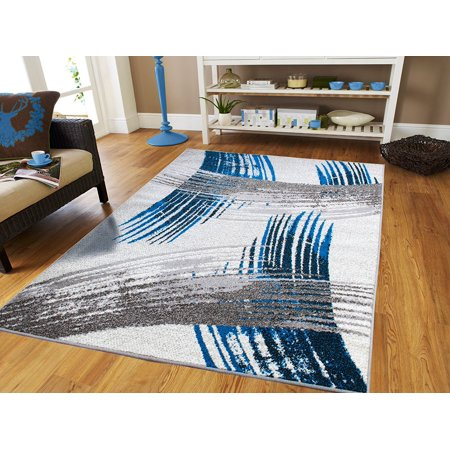 New Fashion Art Collection Contemporary 5x7 Area Rugs Blue Black