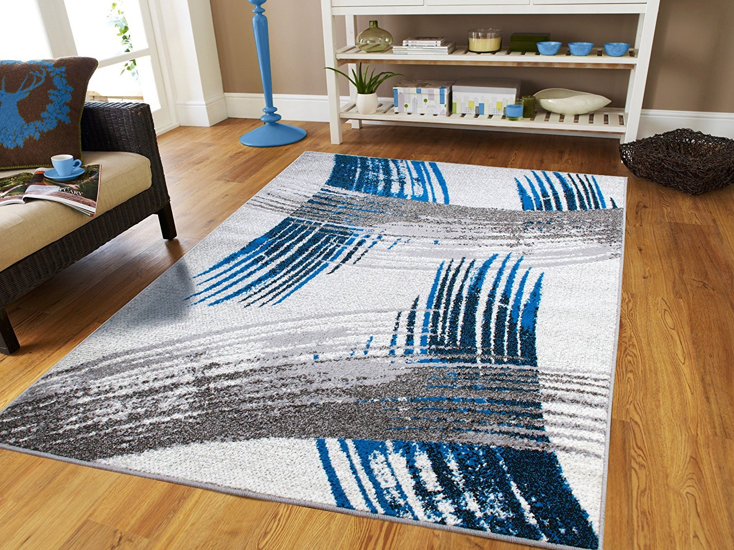 New Fashion Art Collection Contemporary 5x7 Area Rugs Blue Black Cream Grey  Living U0026 Dining Room