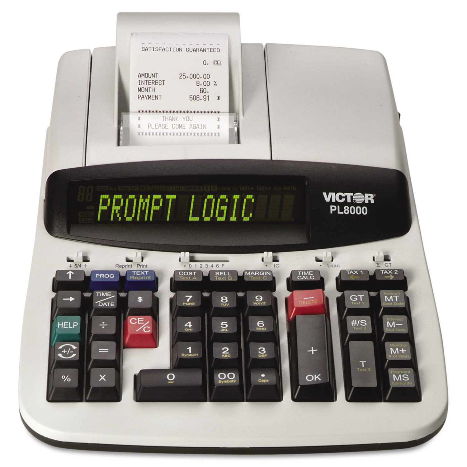 Victor PL8000 One-Color Prompt Logic Printing Calculator, Black Print, 8 Lines/Sec