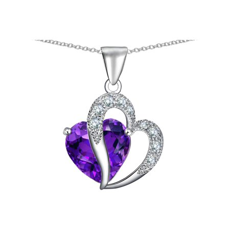 Heart Shape 12mm Simulated Amethyst Pendant Necklace in Sterling (12 Mm Heart Pendant)