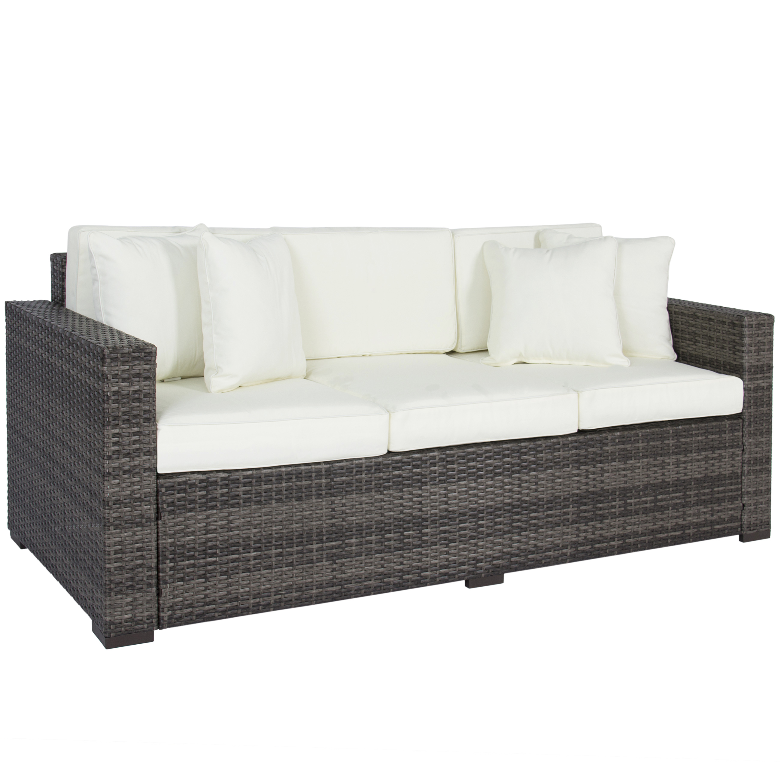 Best Choice Products 3 Seat Outdoor Wicker Sofa Couch Patio Furniture W Steel Frame And Removable Cushions Brown