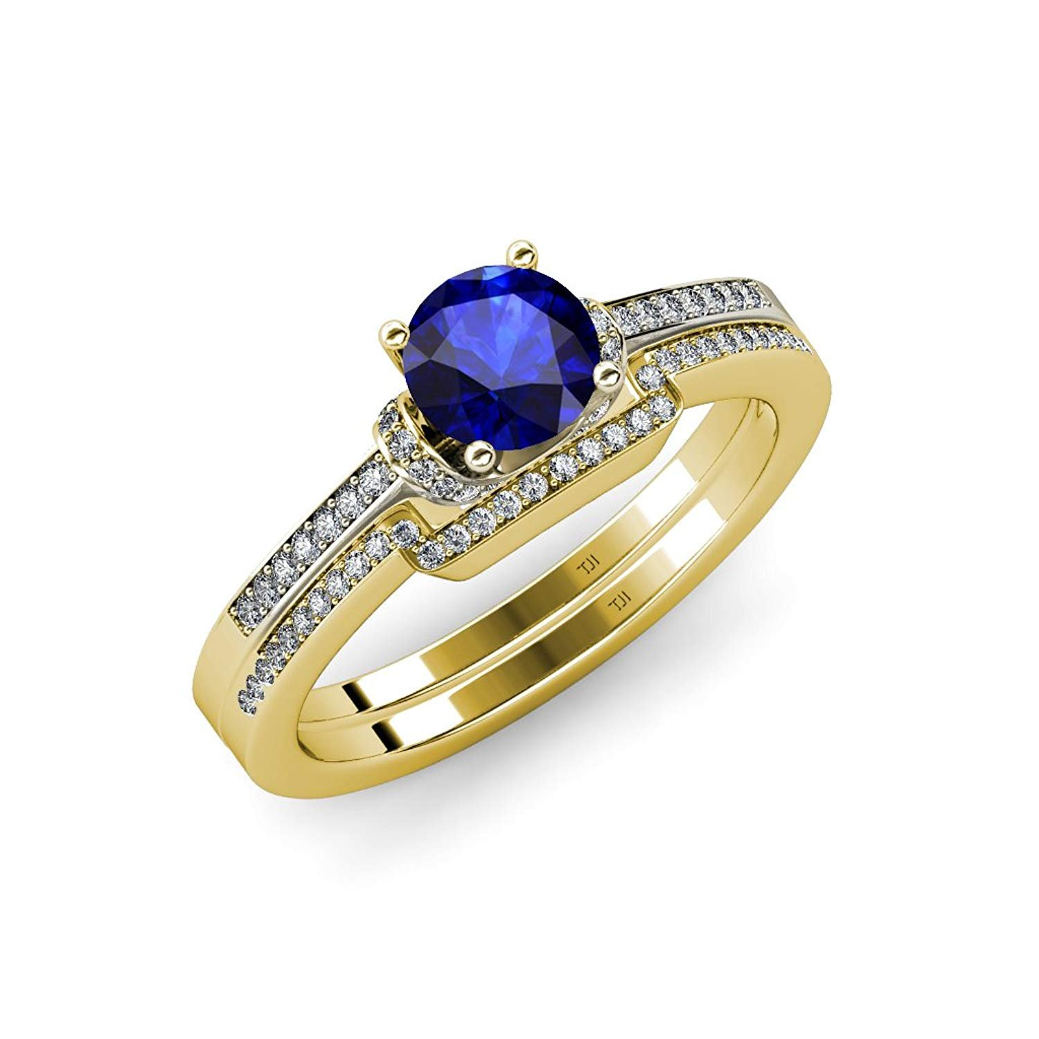 Blue Sapphire and Diamond Engagement Ring & Wedding Band Set 1.30 ct tw in 14K Yellow Gold.size 7.0 by TriJewels