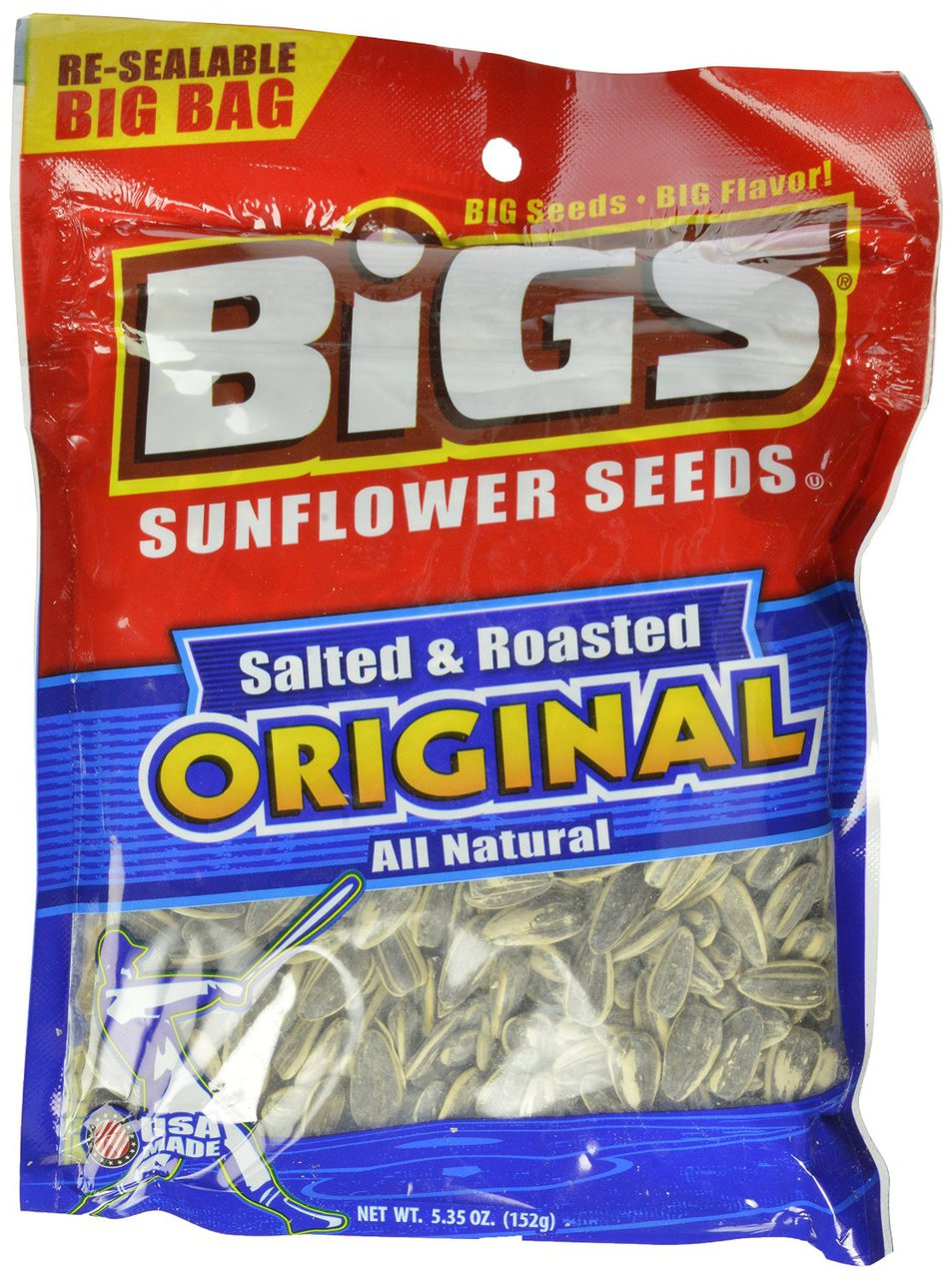 12 PACKS : BIGS Original Salted & Roasted Sunflower Seeds, 5.35-Ounce Bags