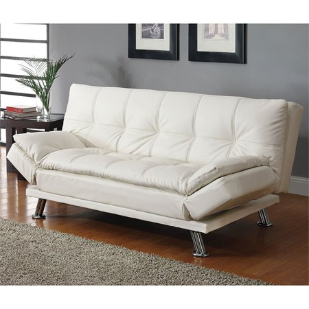 Bowery Hill Faux Leather Sleeper Sofa in White and Chrome White Sofa Couch