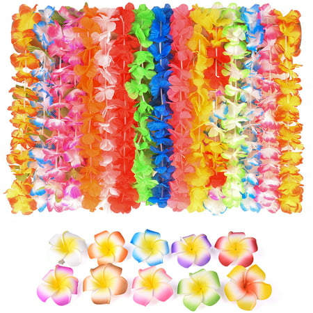 Hawaiian Tropical Ruffled Flowers Necklaces for Birthday Party Supply Christmas Gift Graduation Party Summer Toys 40PCs/Pack F-17 (Return Gift For Birthday Party)