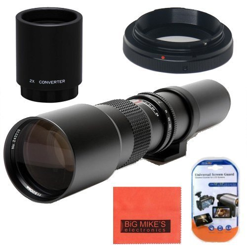 High-Power 500mm/1000mm f/8 Manual Telephoto Lens for Canon Digital EOS Rebel T1i, T2i, T3, T3i, T4i, T5, T5i, T6i, T6s,