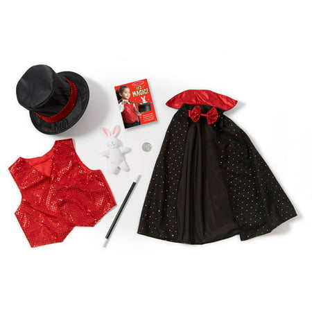 Melissa & Doug Magician Role Play Costume Set, Includes Hat, Cape, Wand, Magic Tricks (Halloween Party Magic Tricks)