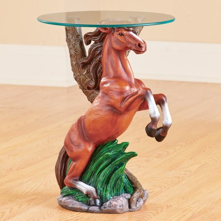 Western Horse Sculpture Accent Table with Glass Top - Unique Home Décor for Any