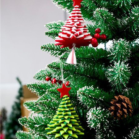 babydream1 Christmas Flannel Door Hanging Decor Star Xmas Tree Bell Metal Pendant Ceiling Decorations - image 5 of 9