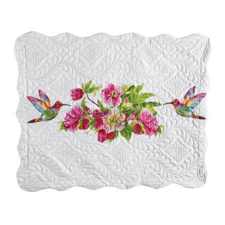 Reversible Hummingbird Flower Print Pillow Sham with Scalloped Edges - Seasonal Décor, Sham, (Flower Sham)