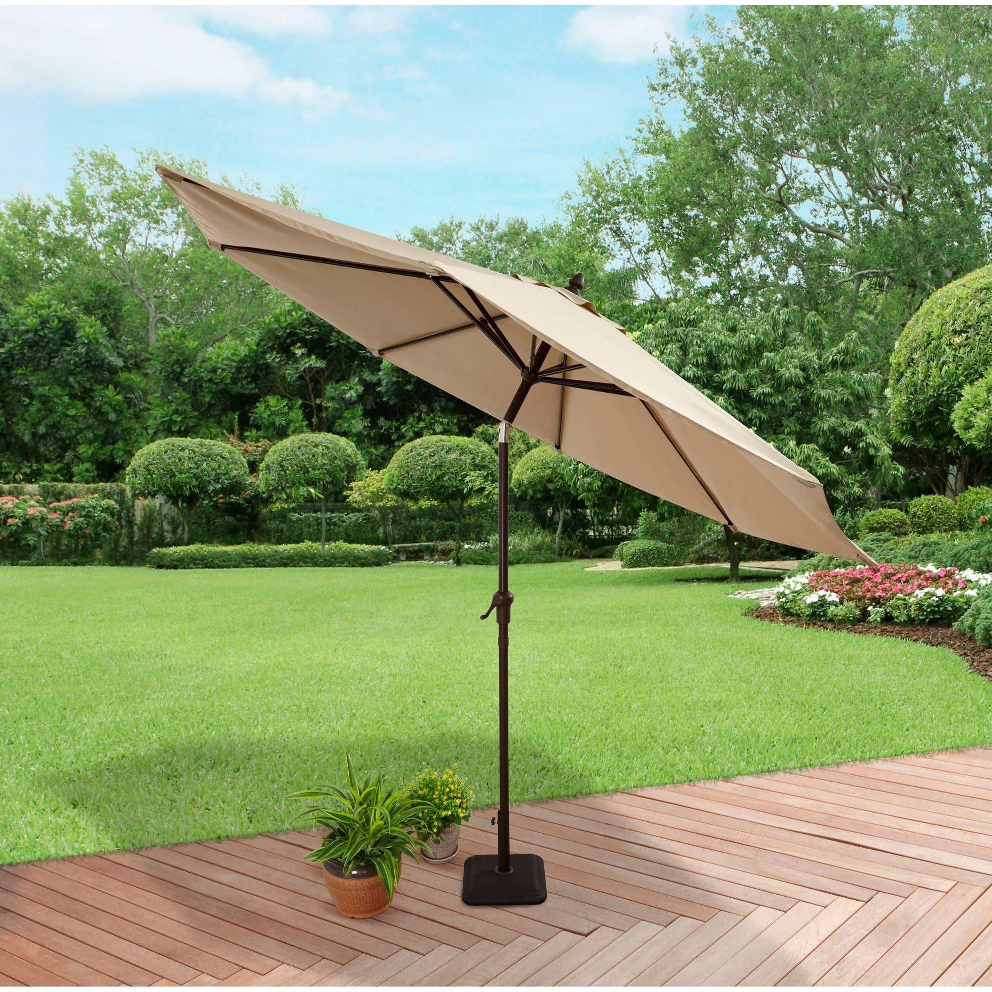 Better Homes and Gardens Aluminum Umbrella with Taupe Solution-Dye Polyester Fabric, 9' (274.32 cm) by