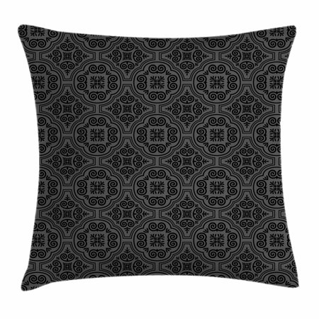 Dark Grey Throw Pillow Cushion Cover, Baroque Venetian Flower Motifs Medieval Ornate Mosaic Gothic Design Elements, Decorative Square Accent Pillow Case, 18 X 18 Inches, Black Grey, by Ambesonne