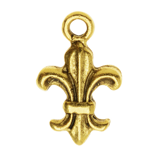 Nunn Design Charm, 9.5x15mm  Fleur De Lis, 1 Piece, Antiqued Gold
