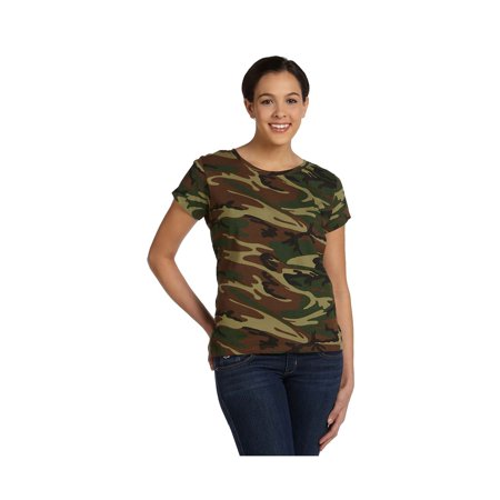 Code Five Ladies Fine Jersey Camouflage T-Shirt, Style 3665