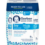 Gerber Good Start Soy Non-GMO Ready to Feed Infant Formula, Stage 1, 8.45 fl oz, 4 Count (Pack of 4)