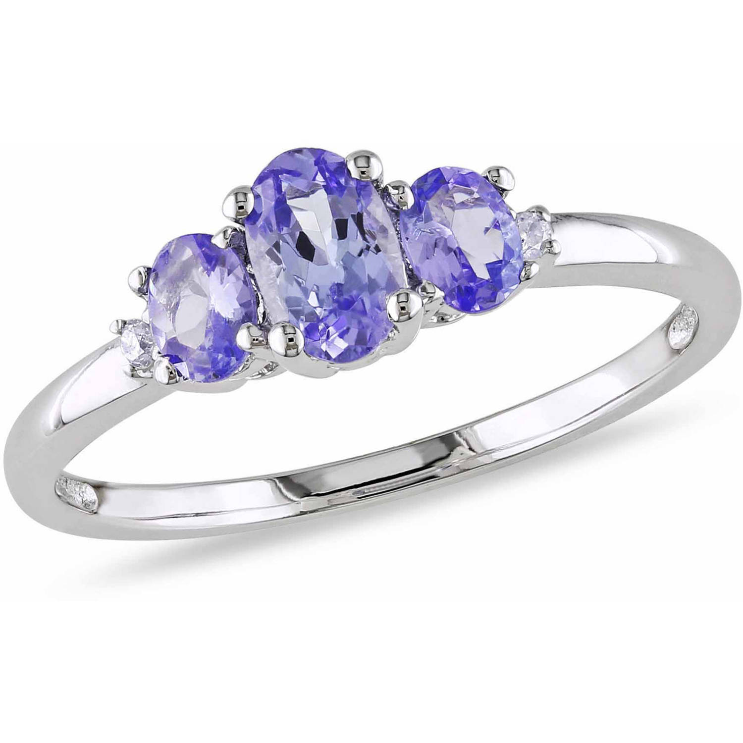 3 4 Carat T.G.W. Oval-Cut Tanzanite and Diamond-Accent 10kt White Gold 3-Stone Ring by Delmar Manufacturing LLC