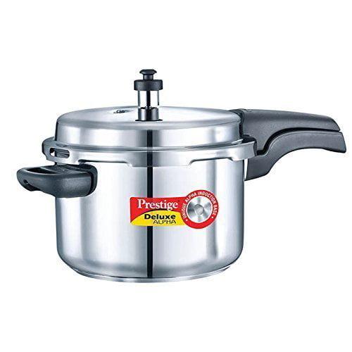 Prestige 4L Alpha Deluxe Induction Base Stainless Steel Pressure Cooker, 4.0-Liter