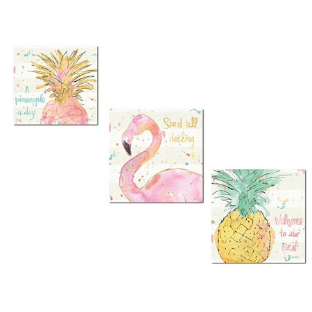 Tropical Hot Pink, Green and Gold Watercolor Flamingo and Pineapple