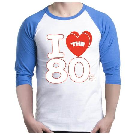 Shop4Ever Men's I Love the 80s Raglan Baseball Shirt (80s Apparel)