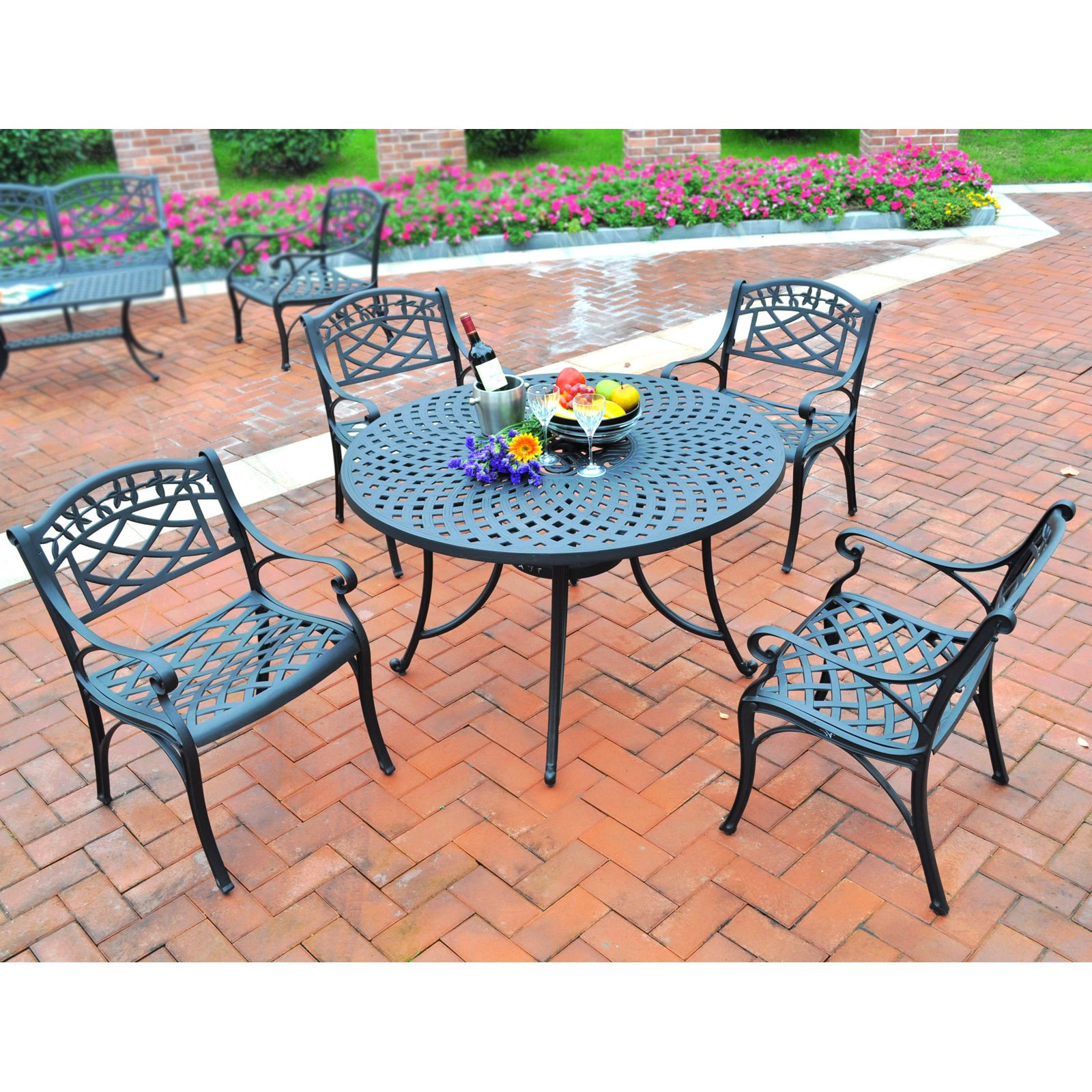 "Crosley Furniture Sedona 42"" Five-Piece Cast Aluminum Outdoor Dining Set"