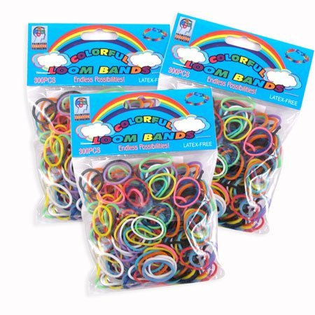 3 PACK- Colorful Loom Bands 900 Latex Free Rubber Bands Refill w Hook by Looms
