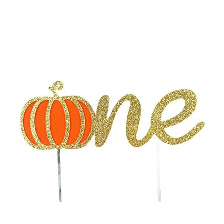 Handmade 1st First Birthday Cake Topper Decoration - one with Pumpkin - Made in USA with Double Sided Gold Glitter Stock](Birthday Pumpkin)