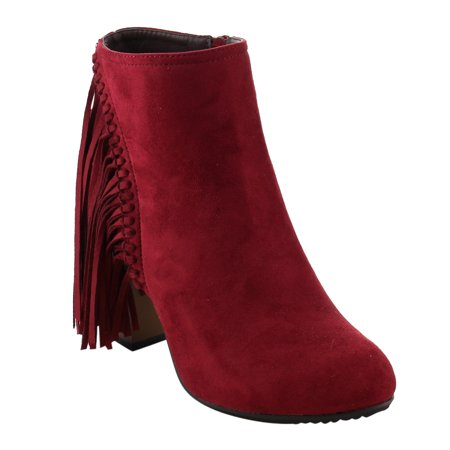 AE01 Women's Fringe Inside Zip Stacked Chunky Heel Ankle Booties