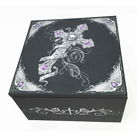 Gothic Skull Cross True Love Never Dies Anne Stokes Jewelry Trinket Mirror Box Celtic Cross Trinket Box