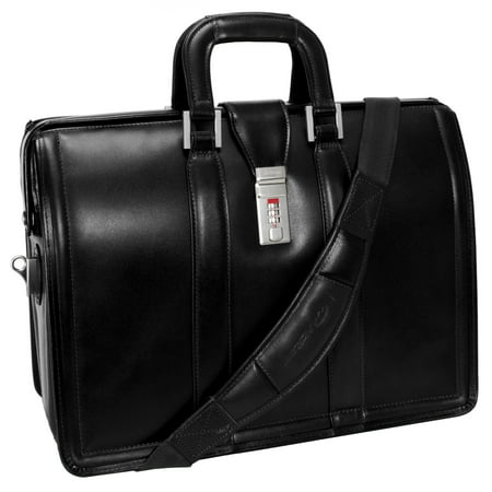 McKlein MORGAN, Litigator Laptop Briefcase, Top Grain Cowhide Leather, Black (83345)